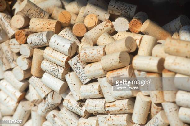 lots of corks - cork stopper stock photos and pictures