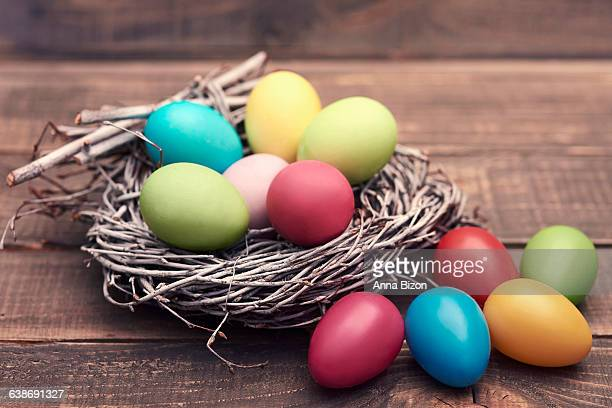 Lots of Easter eggs in and out of nest. Debica, Poland