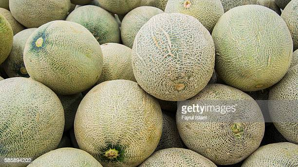 lots of melon at market - muskmelon stock pictures, royalty-free photos & images