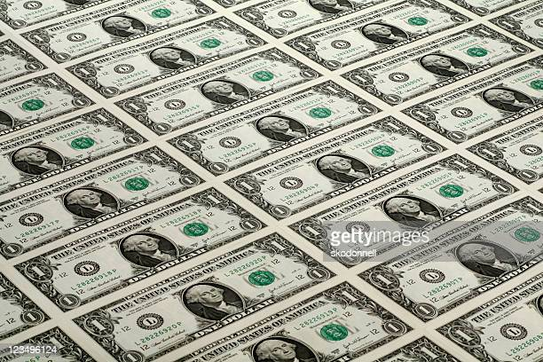 lots of one dollar bills - one dollar bill stock pictures, royalty-free photos & images