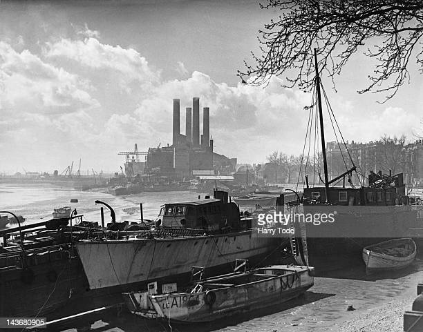 Lots Road Power Station on the River Thames in Chelsea London 1st April 1948