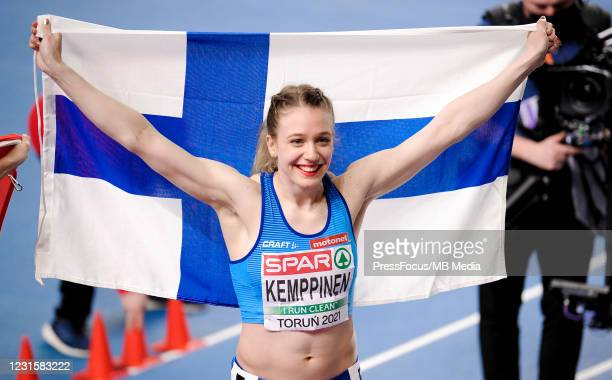 Lotta Kemppinen of Finland celebrates during the second session on Day 3 of European Athletics Indoor Championships at Arena Torun on March 07, 2021...