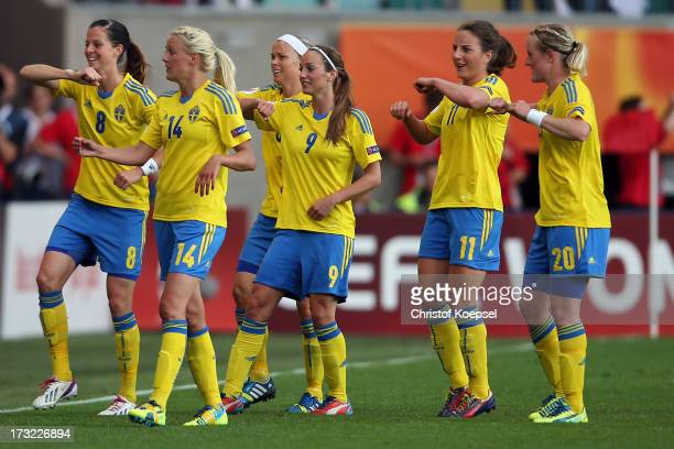 Lotta Schelin Josefine Oeqvist Nilla Fischer Kosovare Asllani Antonia Goeransson and Marie Hammarstroem of Sweden celebrate the first goal of Sweden...