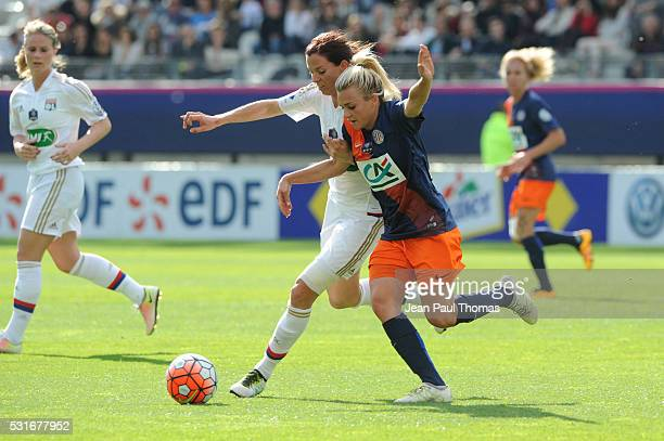 Lotta SCHELIN of Lyon and Marion TORRENT of Montpellier during the final of the Women's French Cup match between Montpellier and Olympique Lyonnais...