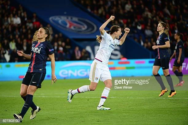 Lotta Schelin of Lyon celebrates opening the scoring during the Uefa Women's Champions League match, semi-final, second leg, between Paris Saint...
