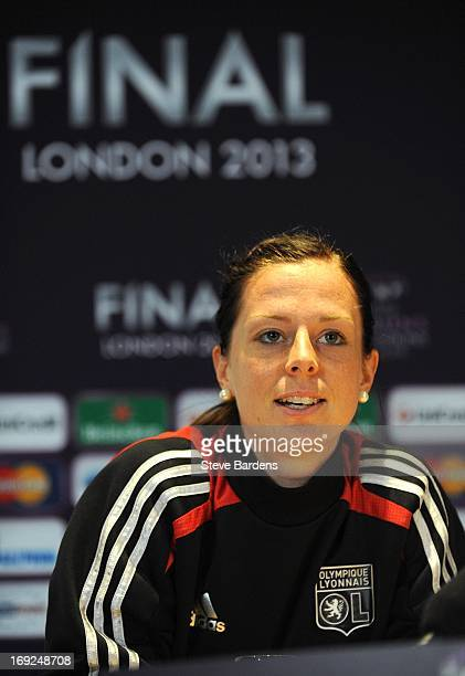 Lotta Schelin of Olympique Lyonnais talks to the media during a press conference ahead of the UEFA Women's Champions League Final at Stamford Bridge...
