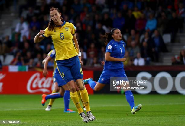 Lotta Schelin of Sweden celebrates scoring her team's first goal of the game during the UEFA Women's Euro 2017 Group B match between Sweden and Italy...