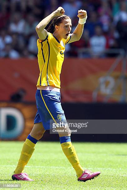 Lotta Schelin of Sweden celebrates winning 31 the FIFA Women's World Cup 2011 Quarter Final match between Sweden and Australia at the FIFA Women's...