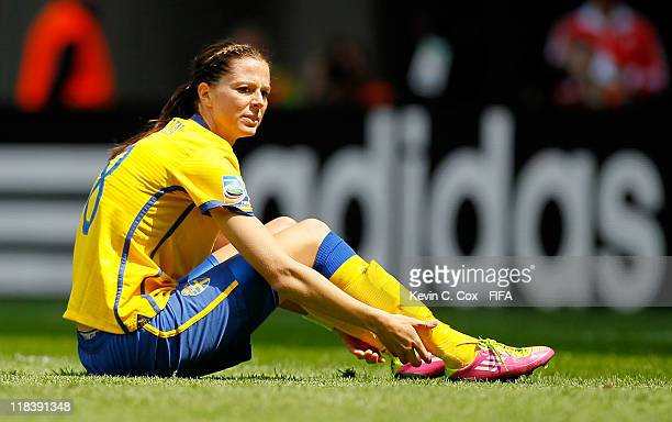 Lotta Schelin of Sweden during the FIFA Women's World Cup 2011 Group C match between North Korea and Sweden at FIFA World Cup Stadium Augsburg on...