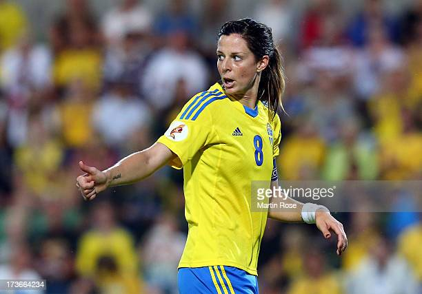 Lotta Schelin of Sweden gestures during the UEFA Women's Euro 2013 group A match between Sweden and Italy at Orjans Vall on July 16 2013 in Halmstad...