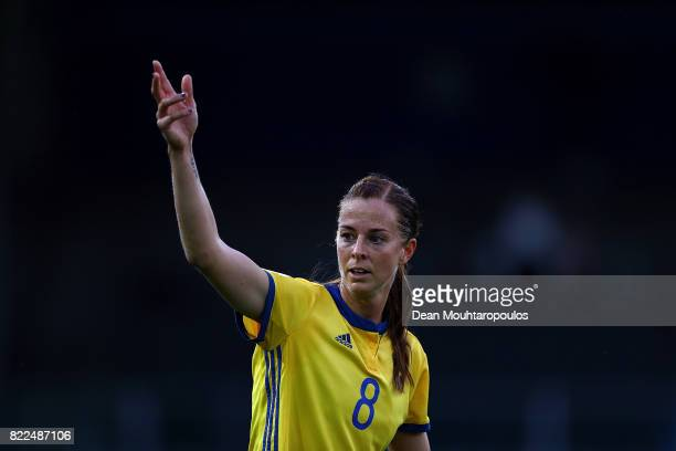 Lotta Schelin of Sweden gives instructions during the UEFA Women's Euro 2017 Group B match between Sweden and Italy at Stadion De Vijverberg on July...