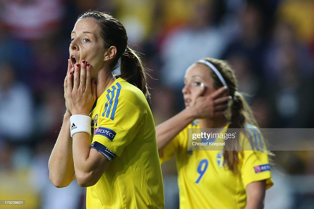 Lotta Schelin of Sweden looks dejected after missing to score a penalty during the UEFA Women's EURO 2013 Group A match between Sweden and Denmark at Gamla Ullevi Stadium on July 10, 2013 in Gothenburg, Sweden.