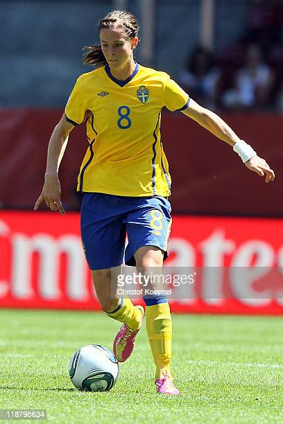 Lotta Schelin of Sweden runs with the ball during the FIFA Women's World Cup 2011 Quarter Final match between Sweden and Australia at the FIFA...