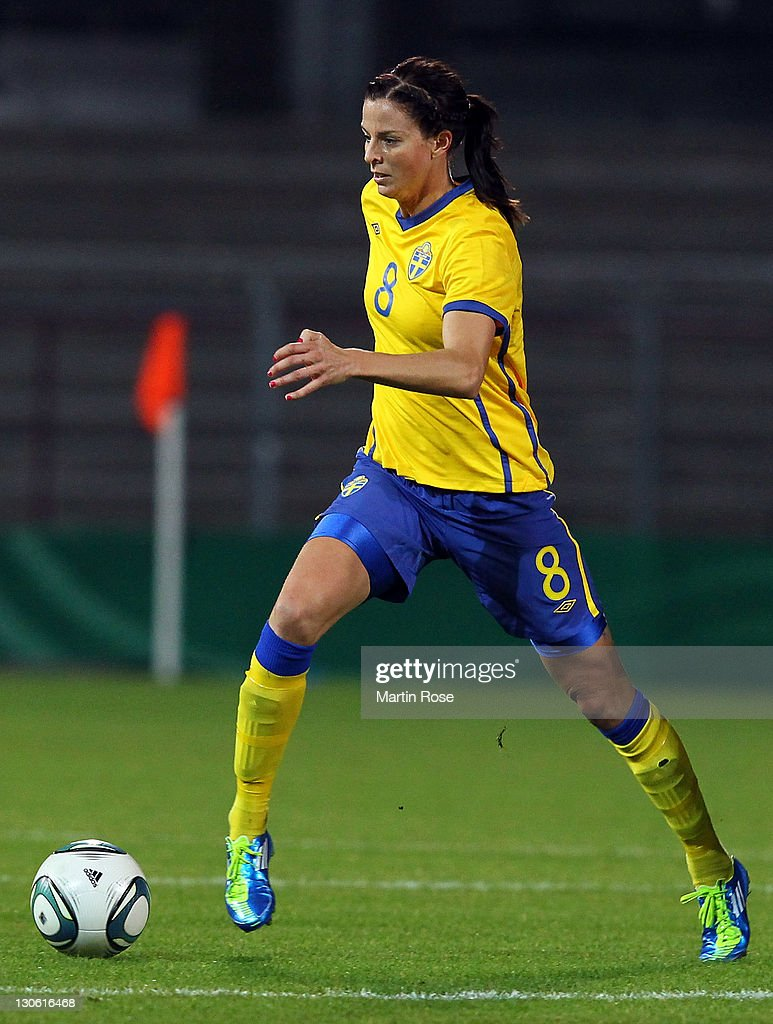 Lotta Schelin of Sweden runs with the ball during the Women's International friendly match between Germany and Sweden on October 26, 2011 in Hamburg, Germany.