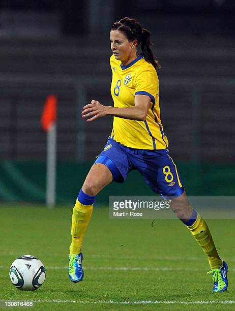 Lotta Schelin of Sweden runs with the ball during the Women's International friendly match between Germany and Sweden on October 26 2011 in Hamburg...