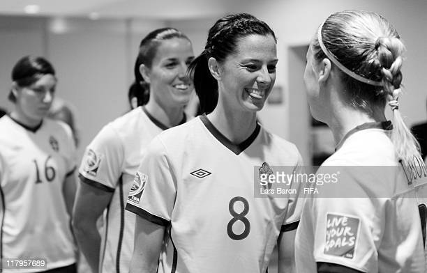 Lotta Schelin of Sweden smiles with team mates prior to the FIFA Women's World Cup Group C match between Korea DPR and Sweden at FIFA World Cup...