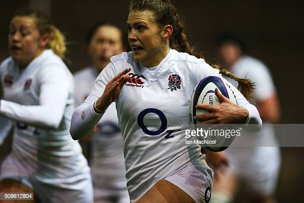 Lotte Clapp of England runs with the ball during the Scotland Women and England Women Six Nations Championship match at Broadwood Stadium on February...