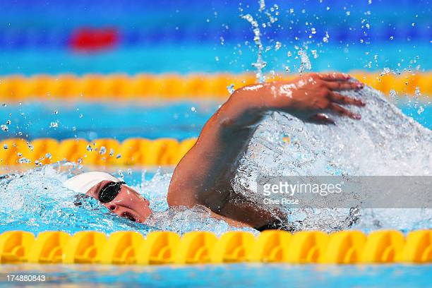Lotte Friis of Denmark competes during the Swimming Women's 1500m Freestyle heat one on day ten of the 15th FINA World Championships at Palau Sant...
