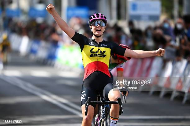 Lotte Kopecky of Belgium and Team Liv Racing celebrates winning during the 7th Ceratizit Challenge By La Vuelta 2021, Stage 4 a 107,4 km at stage...