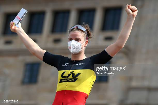 Lotte Kopecky of Belgium and Team Liv Racing celebrates winning the stage on the podium ceremony after the 7th Ceratizit Challenge By La Vuelta 2021,...
