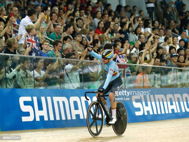 Lotte Kopecky of Belgium celebrates after winning Women's Madison Final on Day 4 in 2017 UCI Track Cycling World Championships at Hong Kong Velodrome...