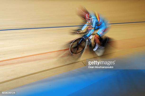 Lotte Kopecky of Belgium competes in the Women's Points Race Final during the Tissot UCI Track Cycling World Cup 20162017 held at the sport centre...