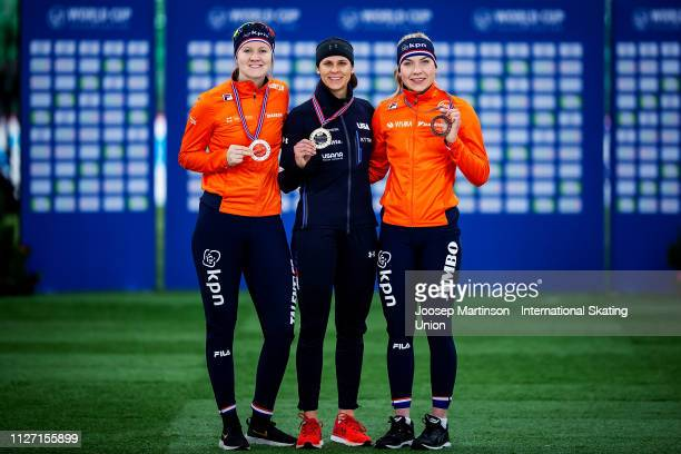 Lotte van Beek of Netherlands Brittany Bowe of the United States and Joy Beune of Netherlands pose in the Ladies 1500m medal ceremony during day 3 of...
