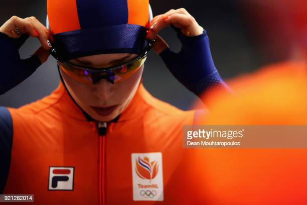 Lotte Van Beek of the Netherlands prepares to race during the Ladies' Team Pursuit Speed Skating Quarterfinals on day 10 of the PyeongChang 2018...