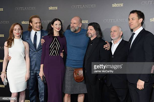 Lotte Verbeek Sam Heughan Caitriona Balfe Graham McTavish Ronald D Moore Gary Lewis and Tobias Menzies attend the Outlander midseason New York...