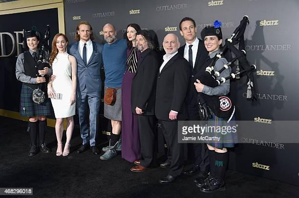 Lotte Verbeek Sam Heughan Graham McTavish Caitriona Balfe Ronald D Moore Gary Lewis and Tobias Menzies attend the Outlander midseason New York...