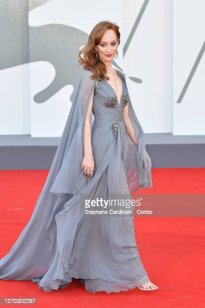 """Lotte Verbeek walks the red carpet ahead of the Opening Ceremony and the """"Lacci"""" red carpet during the 77th Venice Film Festival at on September 02,..."""