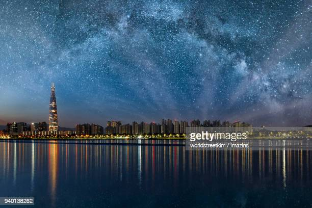 Lotte World Tower (The tallest building in Korea) with Milky way