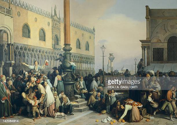 Lottery draw in Saint Mark's Square by Eugenio Bosa oil on canvas Itlay 19th Century 238x336 cm