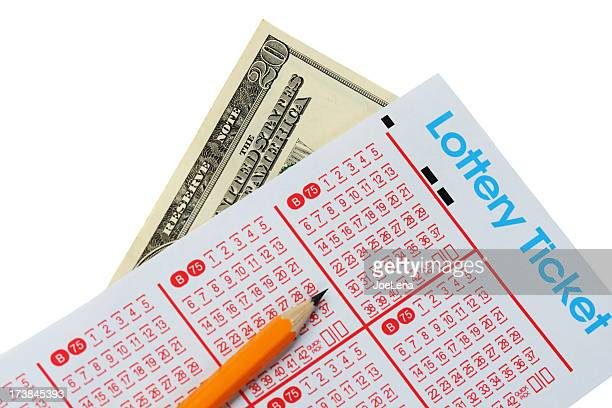 lottery ticket and money - lotterytickets stock pictures, royalty-free photos & images