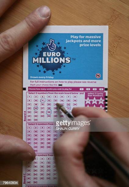 A lottery ticket for the EuroMillions jackpot is pictured in central London on February 8 2008 Lottery history could be made later Friday in the...