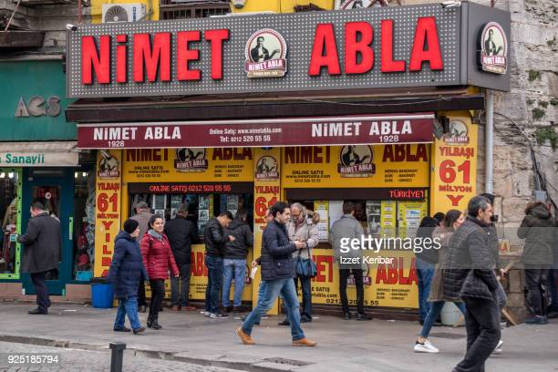 Lottery ticket sale shop, famous Nimet Abla, at Eminonu Istanbul Turkey