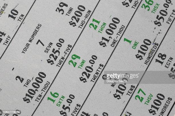 lottery ticket, scratch off type - lotterytickets stock pictures, royalty-free photos & images