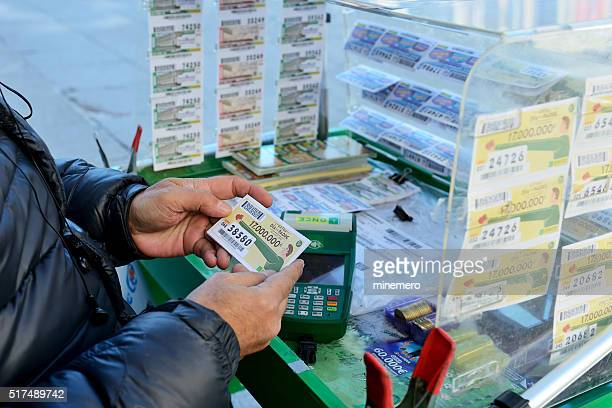 Lottery ticket seller in Madrid