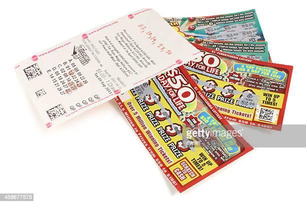 PA loterie billets/coupons à gratter, argent et 5