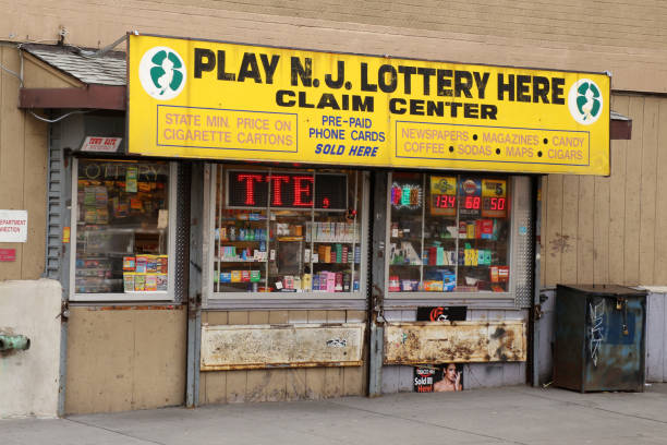 Lottery tickets store in Jersey City, New Jersey, USA