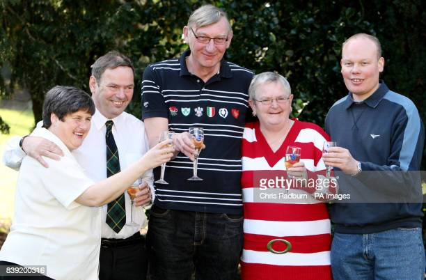 Lottery winners from left Christine Mowat Andrew Mowat John Bell Chris Bell and Joe Burton celebrate sharing just over 4 million pounds in the...