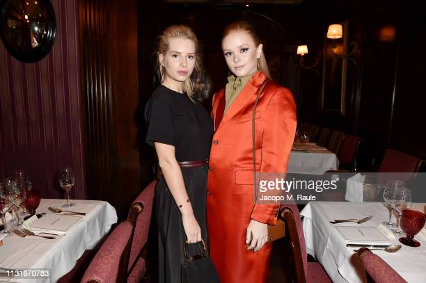 Lottie Moss and Abigail Cowen attend Salvatore Ferragamo Dinner Party during Milan Fashion Week Autumn/Winter 2019/20 on February 23 2019 in Milan...