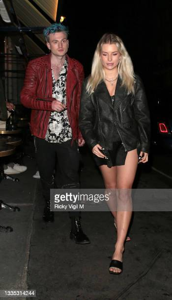 Lottie Moss and boyfriend Tristan Evans seen on a night out at Isabel Mayfair on August 20, 2021 in London, England.