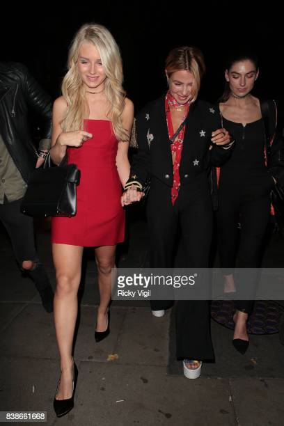 Lottie Moss and Jess Woodley attend Kem Cetinay BoohooMAN collection launch party at Opal Bar on August 24 2017 in London England