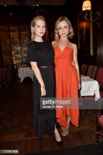 Lottie Moss and Lady Amelia Windsor attend Salvatore Ferragamo Dinner Party during Milan Fashion Week Autumn/Winter 2019/20 on February 23 2019 in...