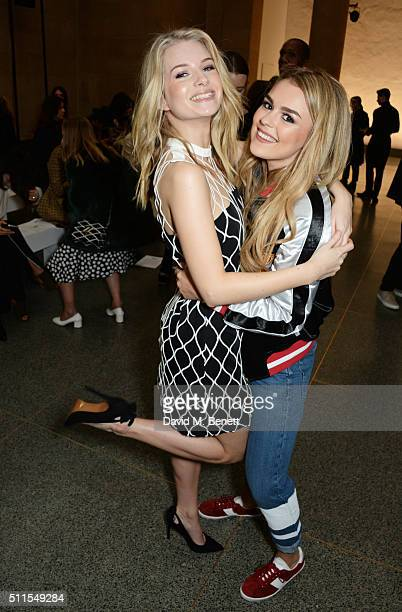Lottie Moss and Tallia Storm attend the Topshop Unique at The Tate Britain on February 21 2016 in London England
