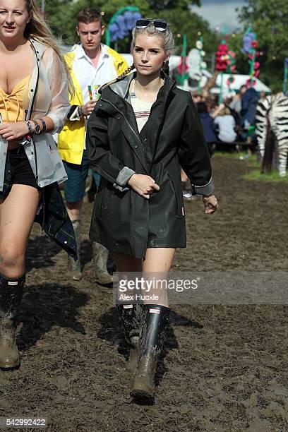 Lottie Moss attends the Glastonbury Festival at Worthy Farm Pilton on June 25 2016 in Glastonbury England