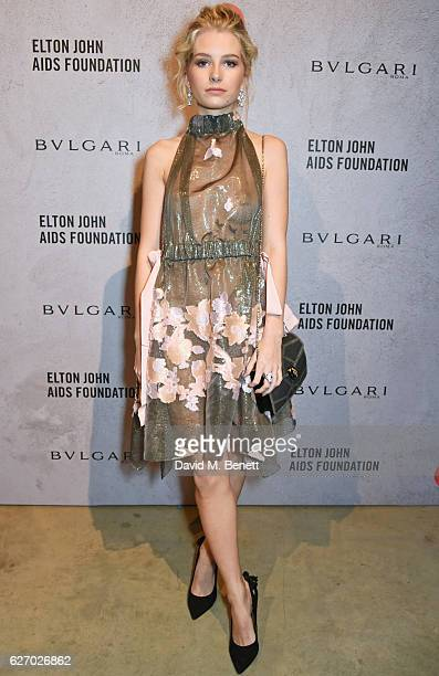 Lottie Moss attends 'The Radical Eye' dinner and private view for the Elton John Aids Foundation in association with Bulgari on December 1 2016 in...