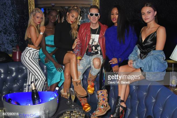 Lottie Moss Duckie Thot Jasmine Sanders Jeremy Scott Eve and Emily Blackwell attend the iD x Jeremy Scott party presented by UGG at Cafe de Paris on...