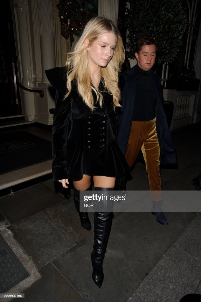 Lottie Moss leaving the restaurant at the Connaught hotel Mayfair on December 8, 2017 in London, England.